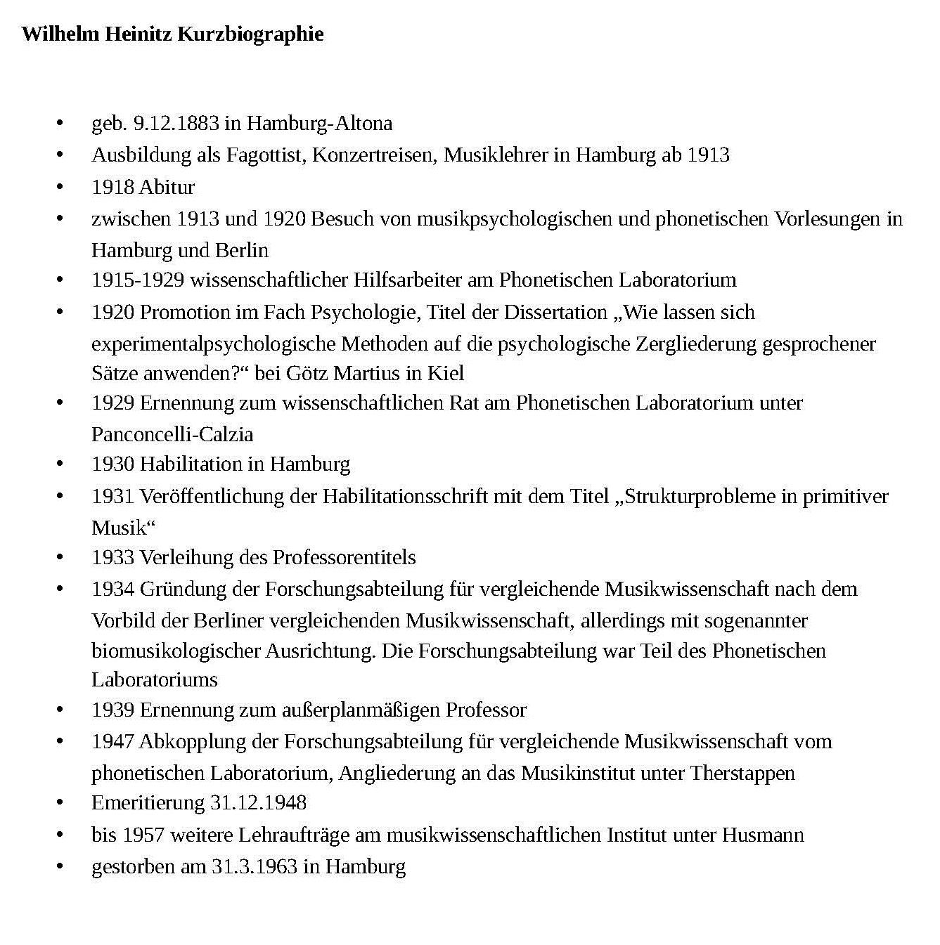 Die Etablierung eines neuen Forschungszweiges: Wilhelm Heinitz ...